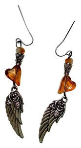 Other New Handmade Angel Wing Earrings Heart Crystals J879