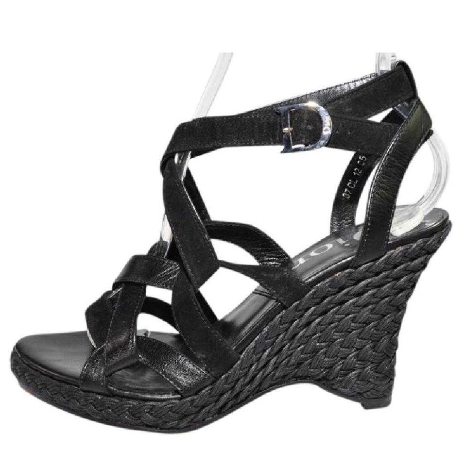 9a05f45655c Dior black strappy leather and suede wedges size eu approx jpg 959x960 Dior  wedges
