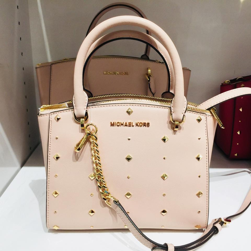 382a43693266 Michael Kors Mk Ellis Small Gold Studs Crossbody Strap Matching Walle  Satchel in Ballet Color Image. 123456789