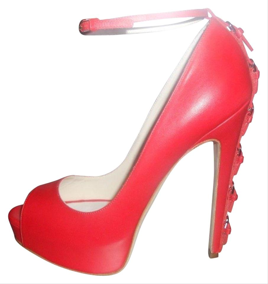 5854a030446 Brian Atwood Red Sinful Ankle Strap Peep Toe Buckle Heel Pumps Platforms  Size EU 39 (Approx. US 9) Regular (M, B) 48% off retail