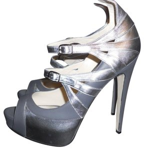 Brian Atwood Heels Follow Me Spike Silver/Grey Platforms
