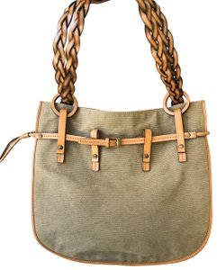 Gucci Canvas Braided Leather Tote in Light Brown