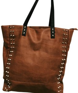 Free People Studded Leather Boho Tote in Brown