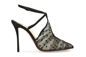 Christian Louboutin Acide Lace Stiletto Ankle Strap Strappy black Pumps