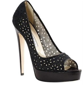 Brian Atwood Platform Eyelet Lace Open Toe Wagner Black Pumps