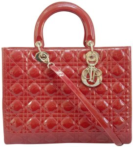 Dior Christian Vernis Lady Satchel in red