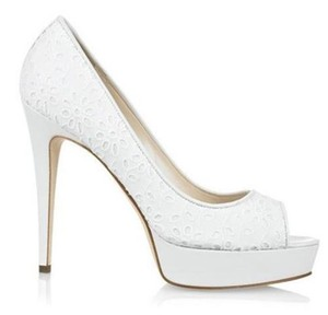 Brian Atwood Platform Eyelet Lace Open Toe Wagner White Pumps