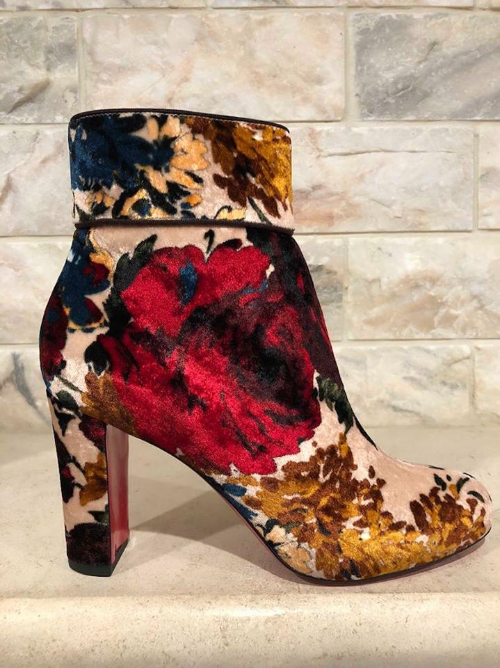 1d8714167a7e Christian Louboutin Nude Moulamax 85 Red Velvet Floral Stiletto Short Ankle  Block Heel Boots Booties Size EU 40 (Approx. US 10) Regular (M