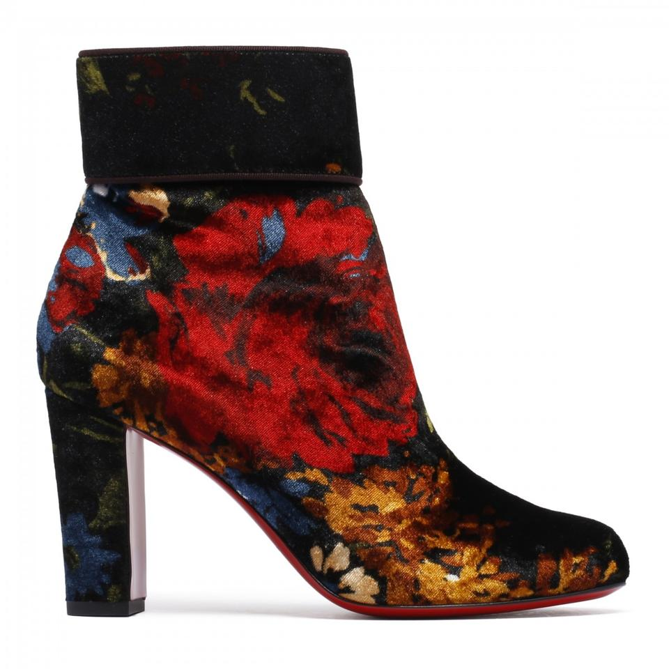 a7115d0ce25 Christian Louboutin Black Moulamax 85 Red Velvet Floral Heel Boots Booties