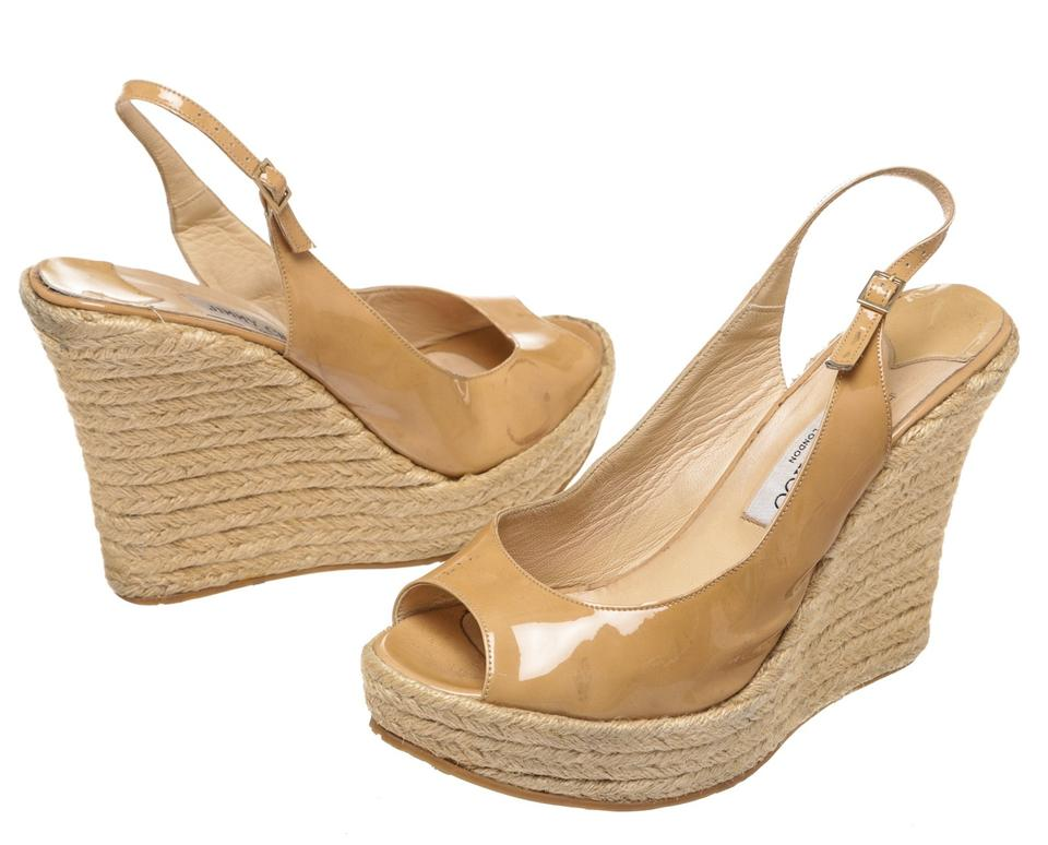 c3f839b88598 Jimmy Choo Nude Patent Leather Open Toe Wedge 40) 211470 Sandals ...
