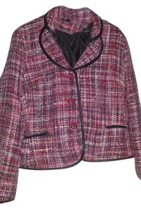 Briggs Tweed Professional Work Classic Leather Trim Red, Pink Blazer