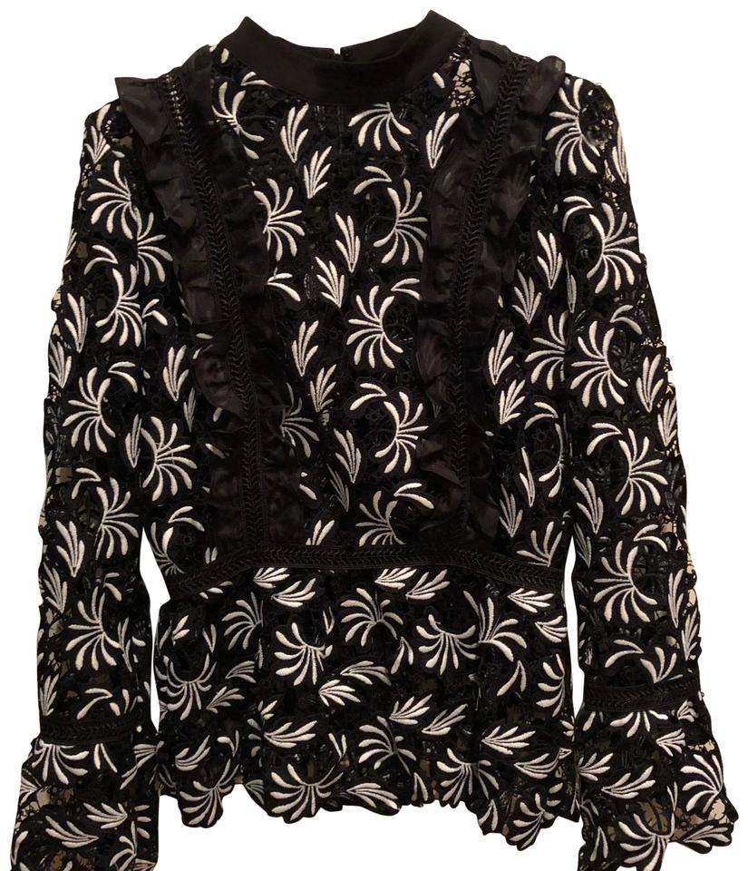 b8eba5fd525fbc self-portrait Black and White Lace Blouse Size 6 (S) - Tradesy