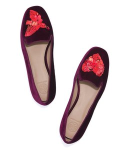 Tory Burch Holiday Velvet Sequin Slippers Burgundy Flats