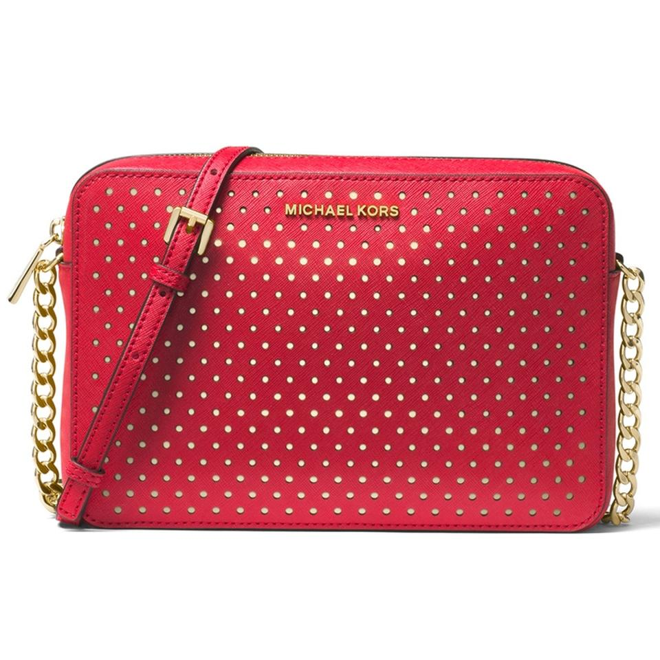 a5676fcbc970 Michael Kors Jet Set Travel Large East West Chain Strap Bright Red Leather Cross  Body Bag
