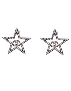 Chanel Chanel Strass Crystal CC Star Pierced Earrings with Box