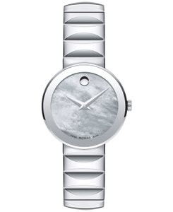 Movado Women's Swiss Sapphire Stainless Steel Bracelet Watch 26mm 0607048