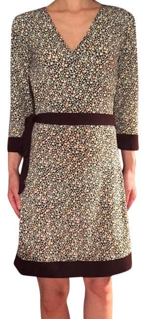 Huminska Turquoise Pebble Faux Wrap Brown Print Mid-length Work/Office Dress Size 0 (XS) Huminska Turquoise Pebble Faux Wrap Brown Print Mid-length Work/Office Dress Size 0 (XS) Image 1