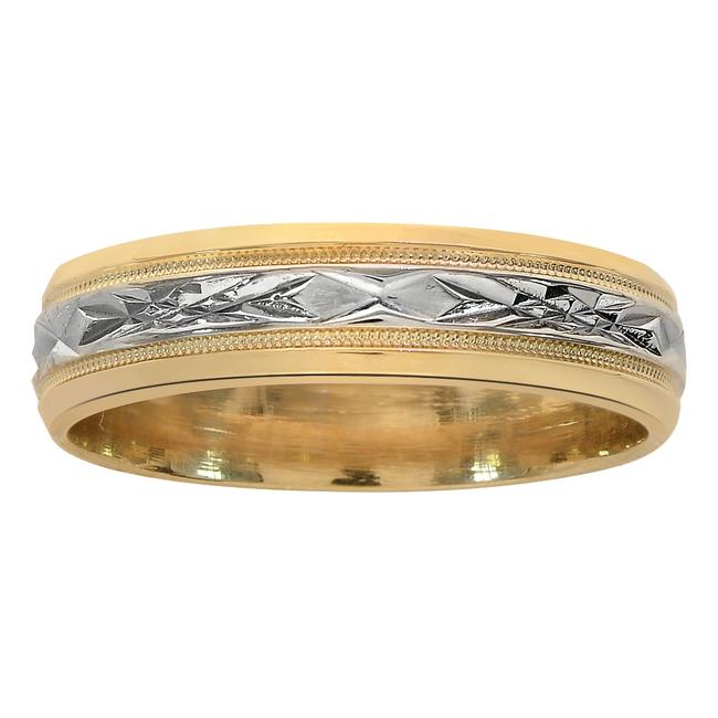 Item - Two Tone Gold 5.7mm 14k Diamond Cut Comfort Fit Ring Men's Wedding Band