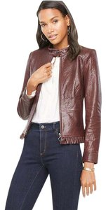 Ann Taylor Moto Ruffle Cherrywood Leather Jacket