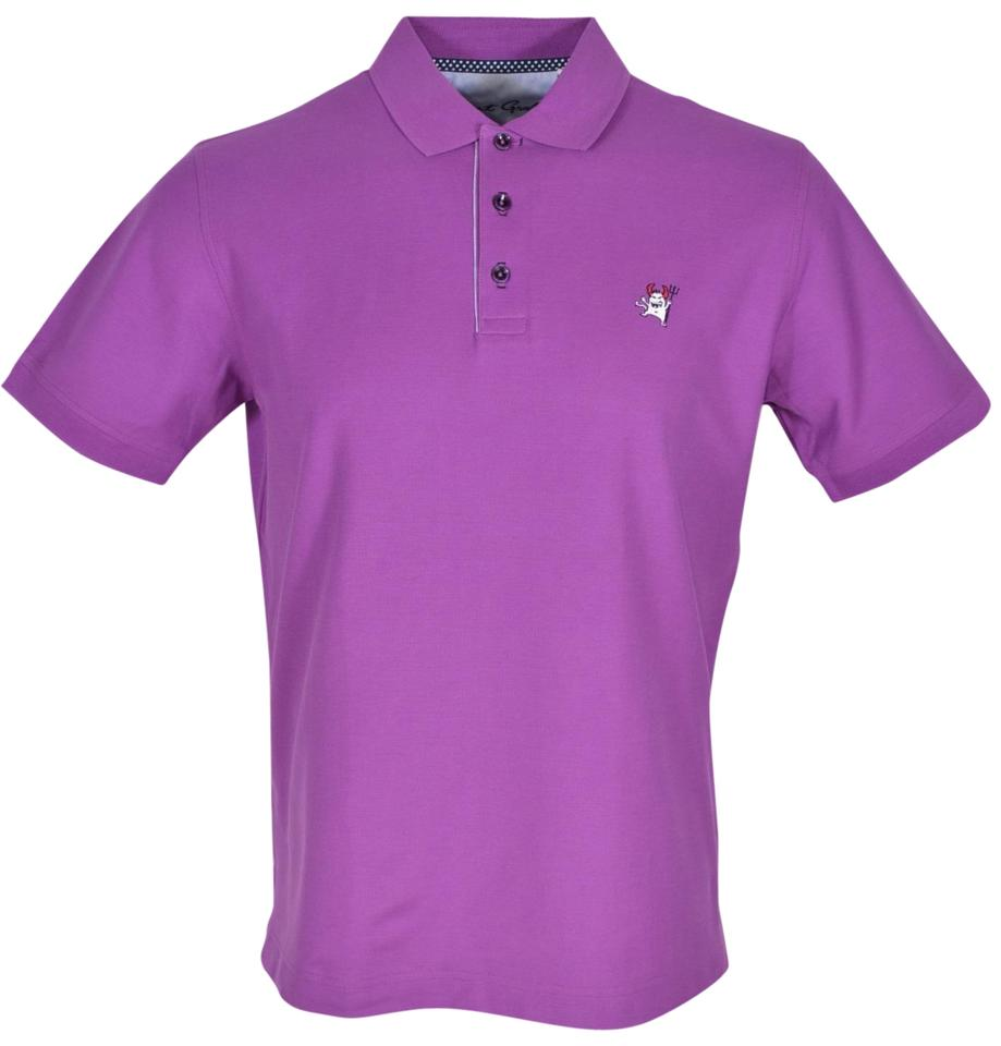 Robert graham purple new pima cotton devil logo polo shirt for Cotton polo shirts with logo