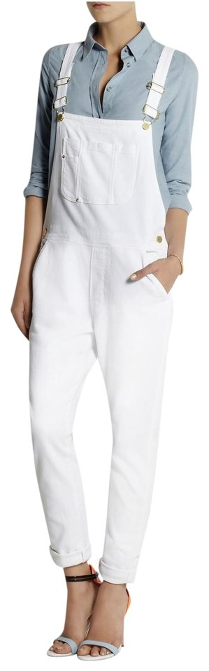 FRAME White Denim Le Antibes Overall Long Romper/Jumpsuit Size 8 (M ...