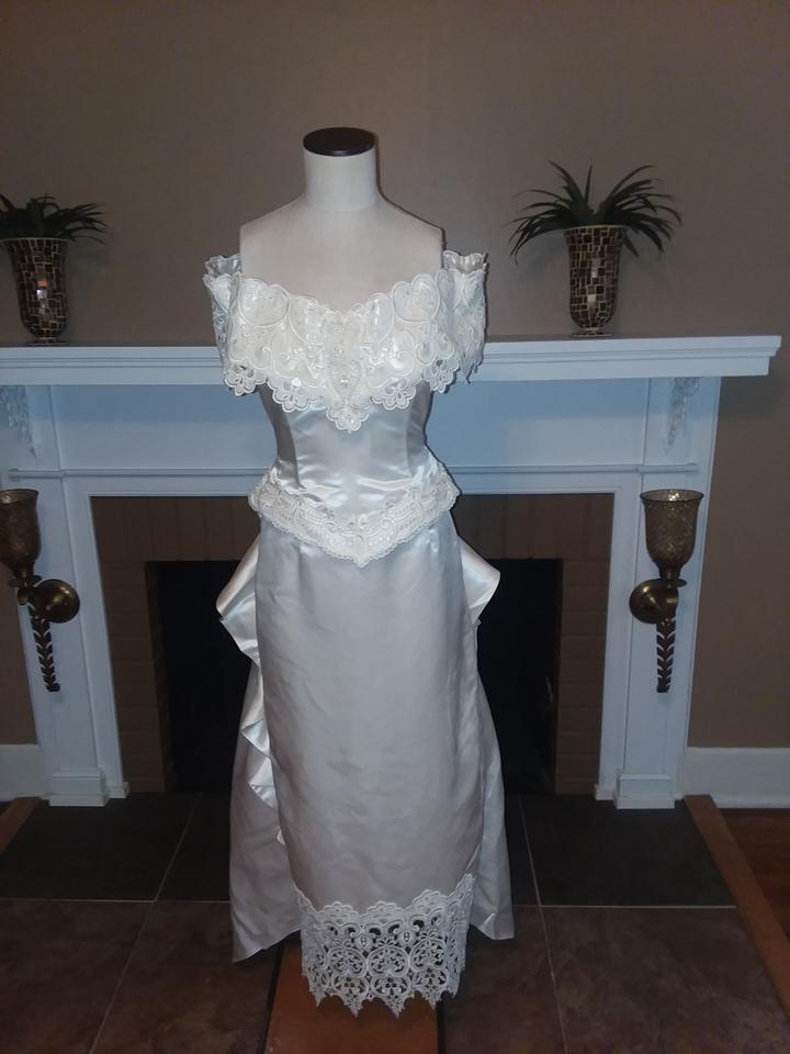 Jessica McClintock White Satin and Lace Rn#49422 Vintage Wedding ...
