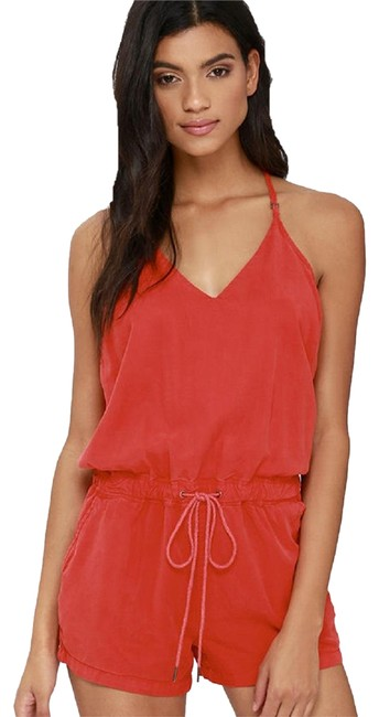 Item - Red Nyc Ladder Strap Washed Sleeveless Pockets Large Romper/Jumpsuit