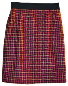 Escada Gold Hardware Pencil Wool Silk Lined Skirt Multi-color