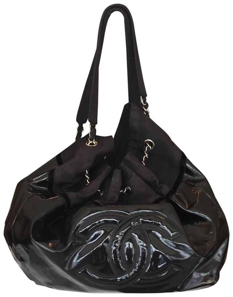 Chanel Silver Hardware Patent Leather Lather Tote In Black