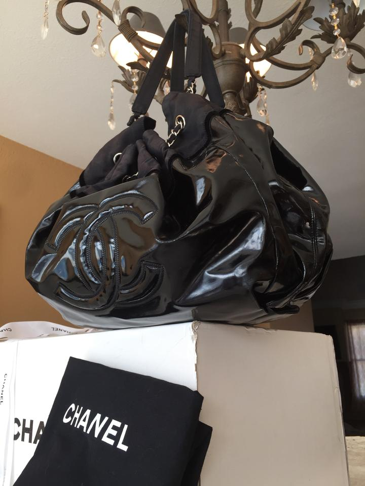 9a55a1e4beaa Chanel Cabas Stretch Spirit Large Black Patent Leather Tote - Tradesy