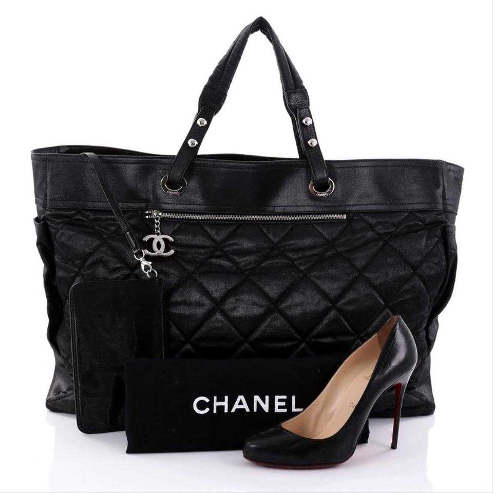 e5211c4f9f Chanel Biarritz Quilted Coated Xl Black Canvas Tote - Tradesy