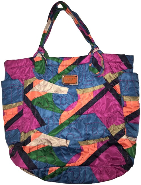Item - Pretty Damisi Collage Blue Pink Green Orange Nylon Tote