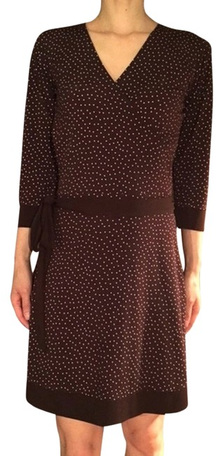 Item - Brown Faux Wrap Mini Polka Dots Mid-length Work/Office Dress Size 0 (XS)