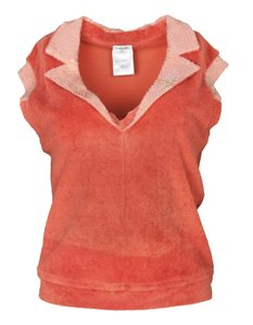 Chanel Terrycloth Sequin Polo T Shirt Coral