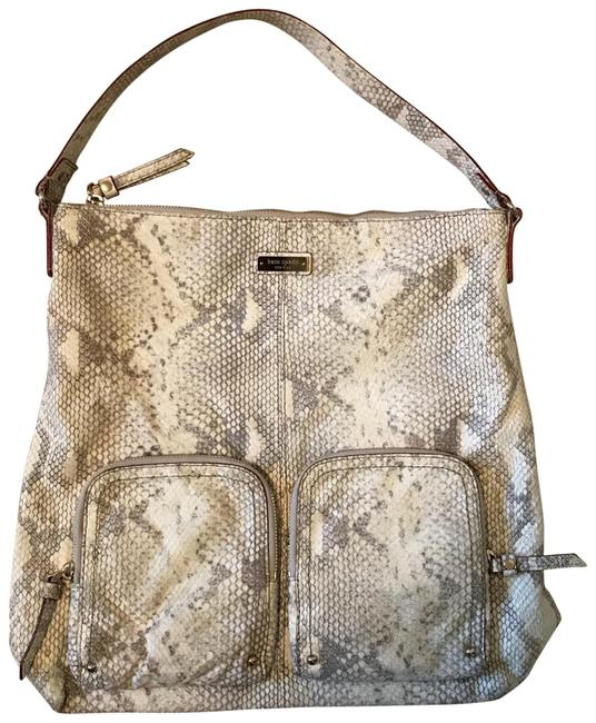 Item - Gray and Cream Python Skin Leather (Faux Python Real Leather ) Hobo Bag