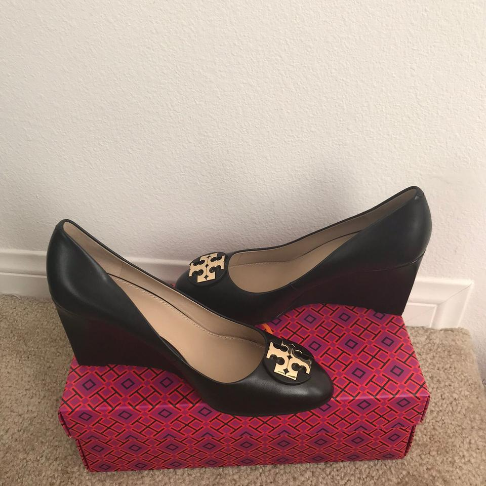 332d4725a6e197 Tory Burch Black 9.5m   Luna   85mm Calf Leather Pumps Wedges Size ...