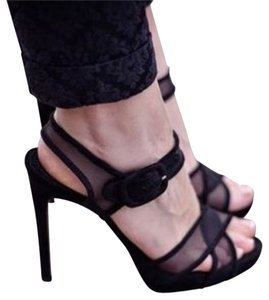 Zara Mesh Strappy Size 9 Black Sandals