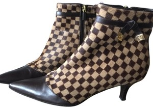 Louis Vuitton Gold Leather Ankle Brown Damier pointed toe Boots
