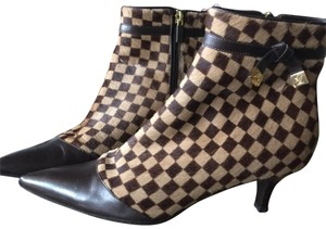 Louis Vuitton Brown Leather Ankle Boot Damier Ebene Boots