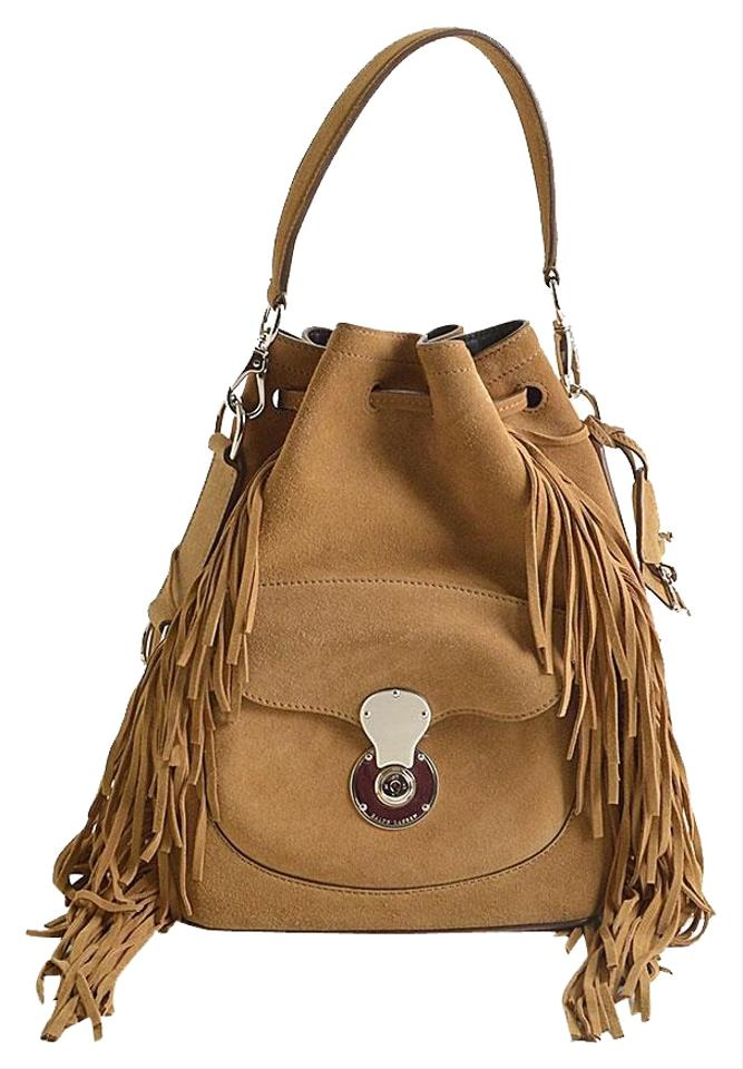 8b454d5f37 Ralph Lauren Blue Label Ricky Drawstring Fringe Bucket Tan Suede ...