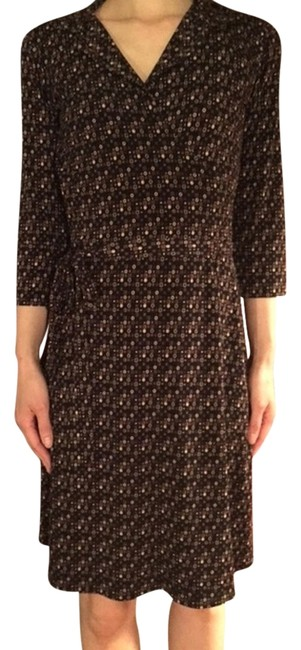 Item - Brown Faux Wrap Tiny Print Mid-length Work/Office Dress Size 0 (XS)
