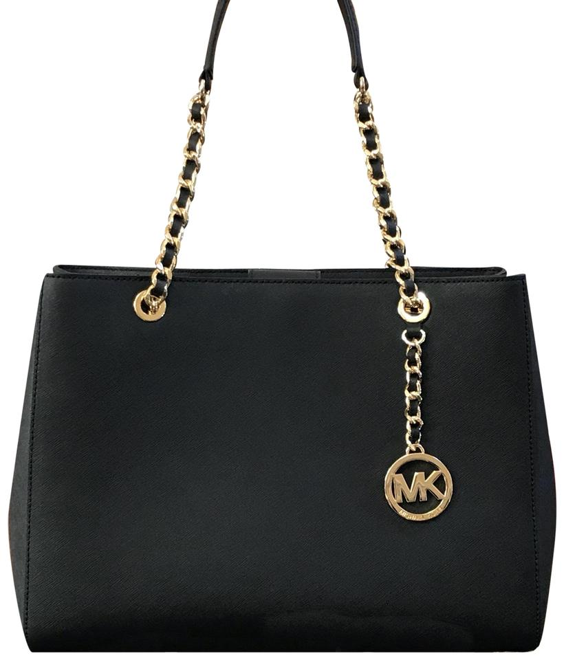 dea7c0be480e Michael Kors Susannah Large Tote Chain Handbag/Purse Black Saffiano ...