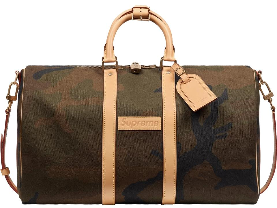 f2e02db184aa Louis Vuitton x Supreme Limited Edition Keepall 45 Band. Camo Army Green  Black and Natural Leather Canvas Cowhide Weekend Travel Bag