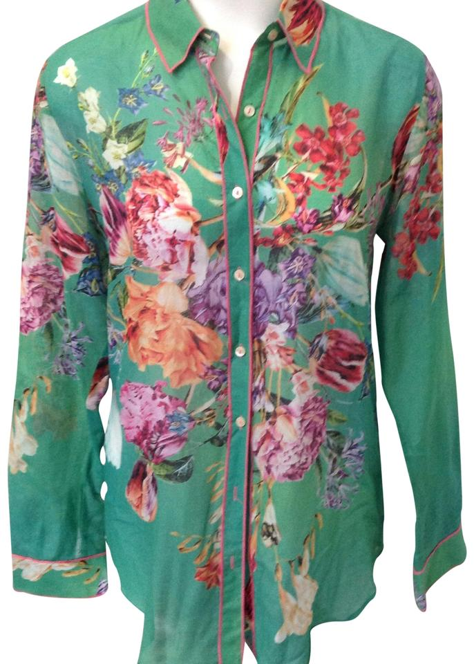 5371a5b242f08f Johnny Was Green Pink Purple Orange Floral Silk Button Blouse M ...