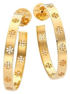 Tory Burch NEW!!! TAGS LOGO 16K GOLD LOGO HOOPS HOOP EARRINGS NWT DUST BAG
