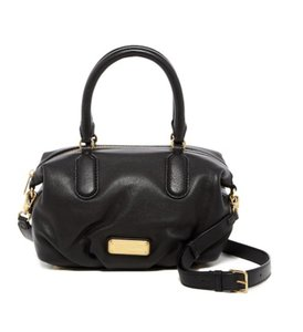 Marc by Marc Jacobs Leather Hardware Suede Jeans Satchel in Black/Gold