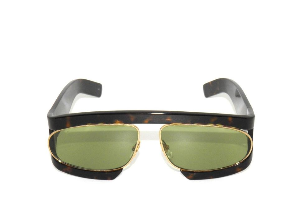 92cf6a989ed Gucci Gucci Sunglasses Havana Frame with Green Lenses GG0233S 002 Image 0  ...