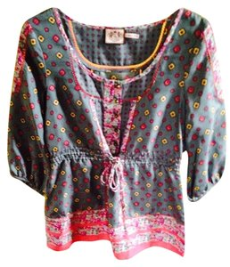 Juicy Couture 100% Silk Beads Retro Pattern Tunic