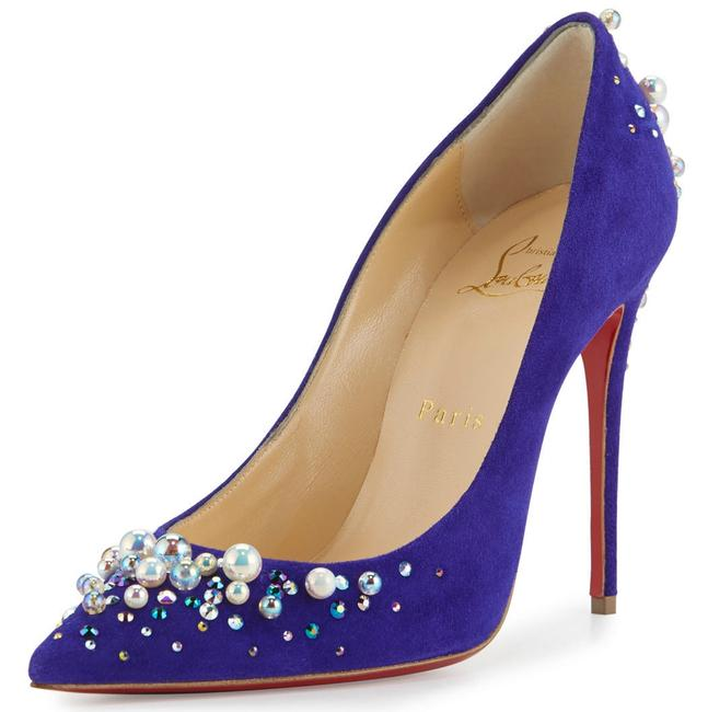 Item - Purple Blue Candidate Pop Pearl Crystal Embellished Suede Red Sole Pumps Size EU 38 (Approx. US 8) Regular (M, B)