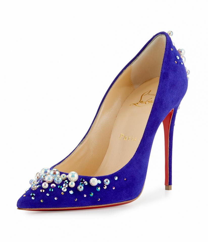 d2b6371be37a Christian Louboutin Made In Italy Luxury Designer Red Sole Pearl Crystal  Embellished Blue Pumps Image 0 ...